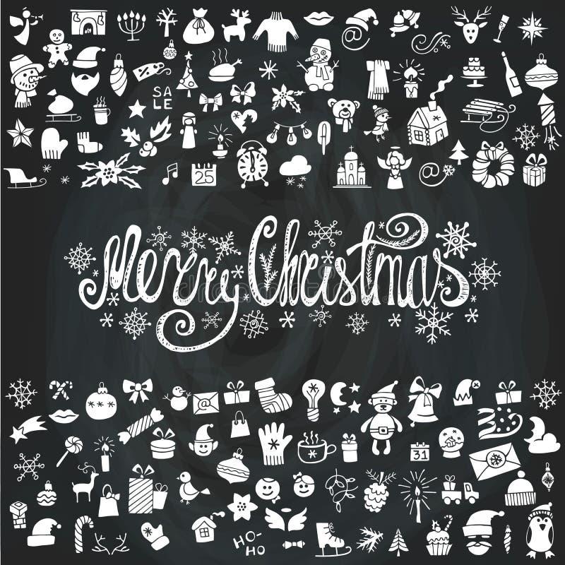 Κάρτα Χαρούμενα Χριστούγεννας Σκιαγραφία εικονιδίων chalkboard ελεύθερη απεικόνιση δικαιώματος