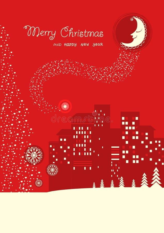 Κάρτα Χαρούμενα Χριστούγεννας στην κόκκινη νύχτα φεγγαριών backrgound με τις διακοπές απεικόνιση αποθεμάτων