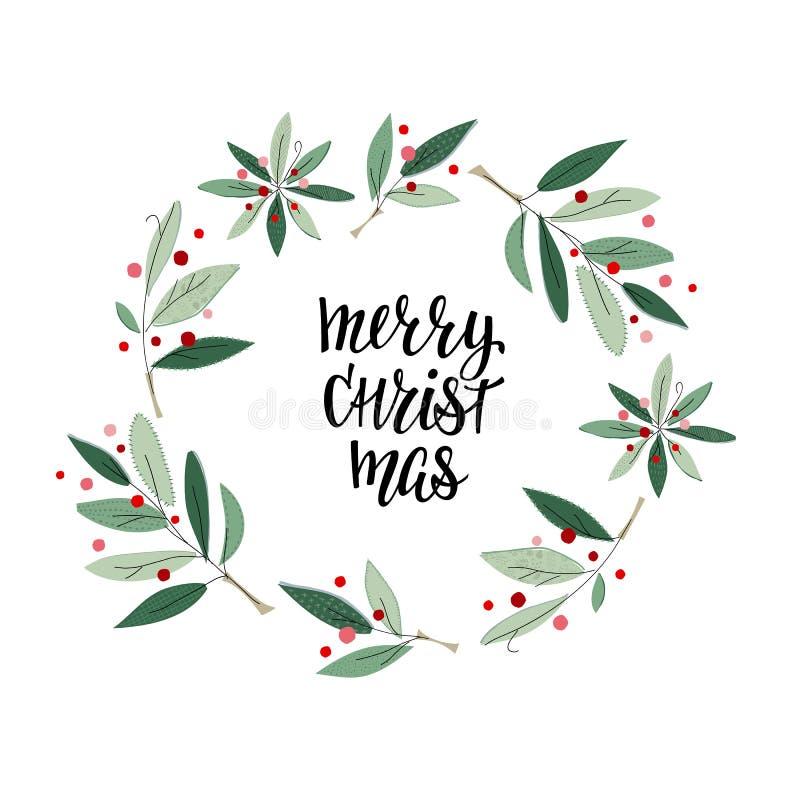 Κάρτα χειμερινής εποχής στεφανιών Χαρούμενα Χριστούγεννας διανυσματική απεικόνιση