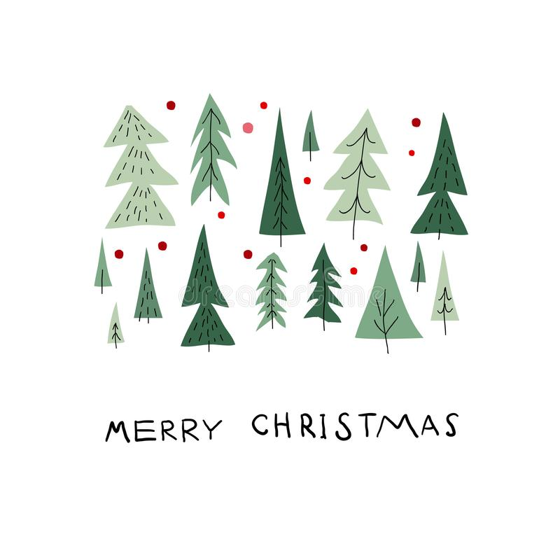 Κάρτα χειμερινής εποχής χιονιού δέντρων Χαρούμενα Χριστούγεννας απεικόνιση αποθεμάτων
