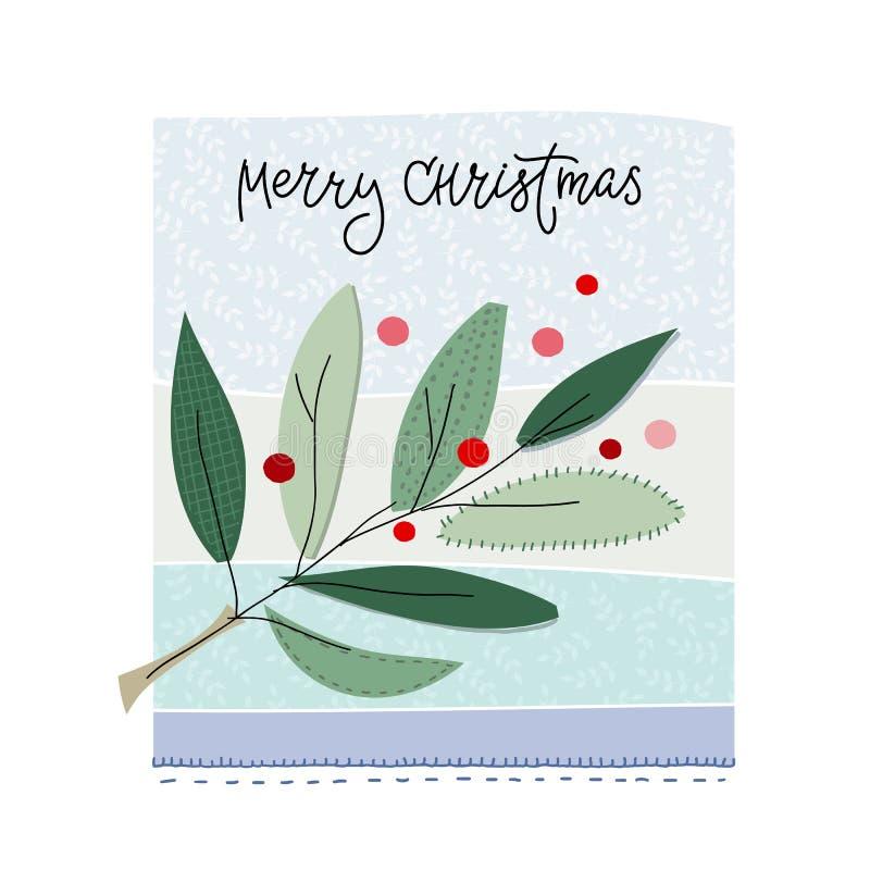 Κάρτα χειμερινής εποχής χιονιού δέντρων Χαρούμενα Χριστούγεννας διανυσματική απεικόνιση