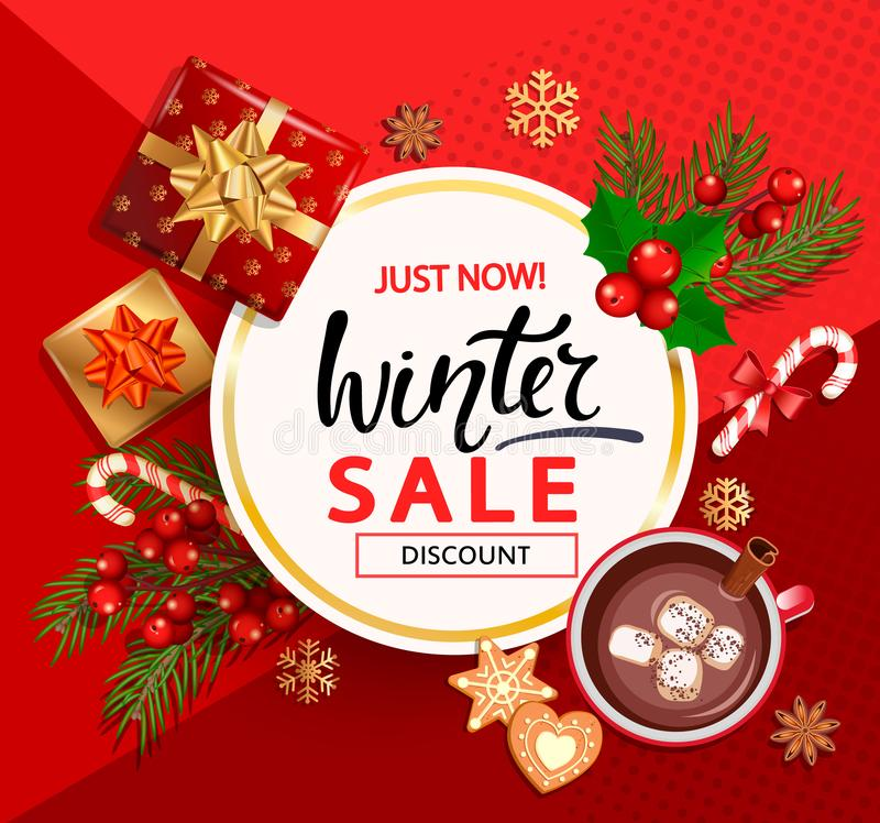 Κάρτα χειμερινής πώλησης για τις νέες διακοπές έτους διανυσματική απεικόνιση