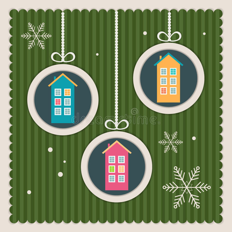 Κάρτα Χριστουγέννων ακίνητων περιουσιών με τα ζωηρόχρωμα σπίτια και Snowflakes απεικόνιση αποθεμάτων