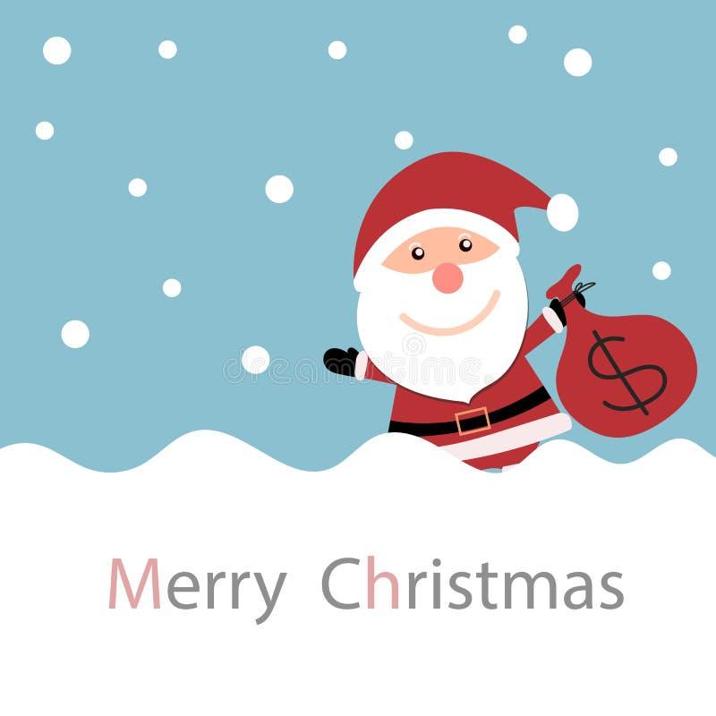 Κάρτα Χριστουγέννων με Άγιο Βασίλη με την τσάντα χρημάτων χιονιού και εκμετάλλευσης διανυσματική απεικόνιση
