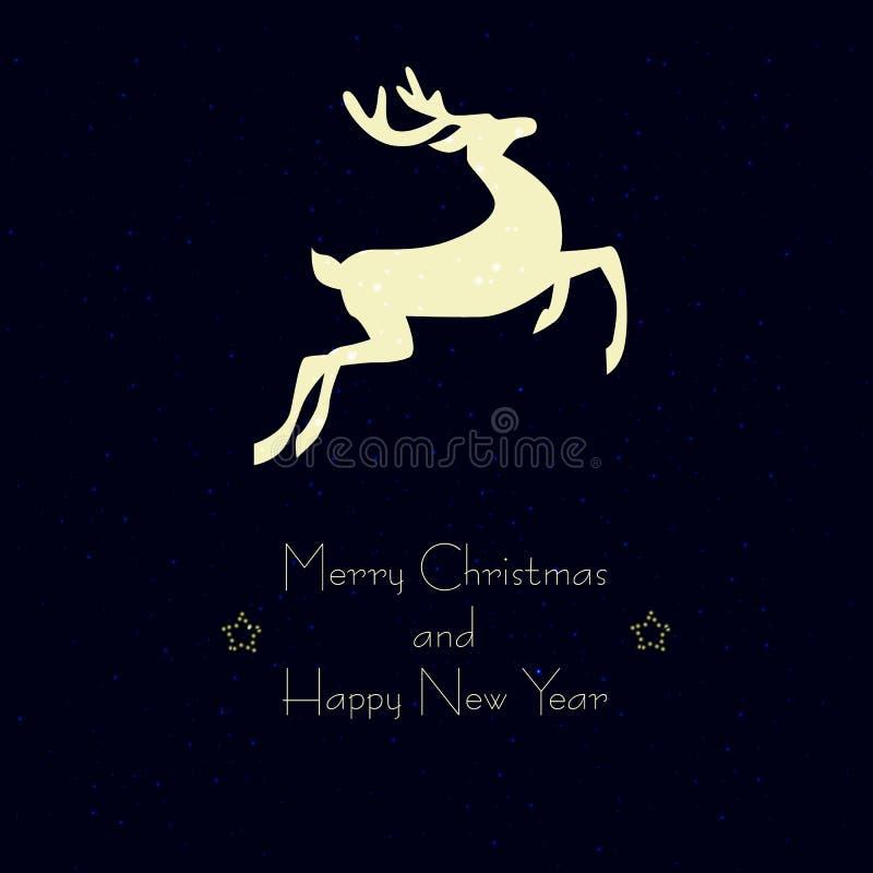 Κάρτα Χριστουγέννων με ένα ελάφι στοκ φωτογραφίες