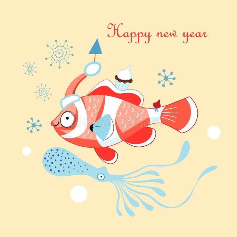 Κάρτα Χριστουγέννων με ένα ψάρι ελεύθερη απεικόνιση δικαιώματος