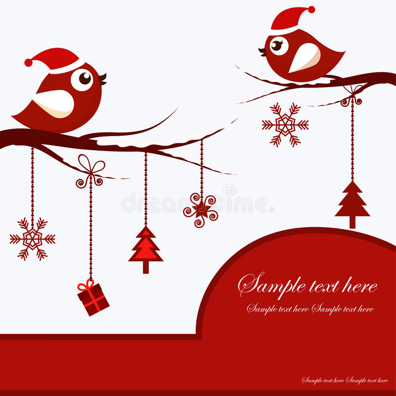 Κάρτα Χριστουγέννων με τα πουλιά απεικόνιση αποθεμάτων