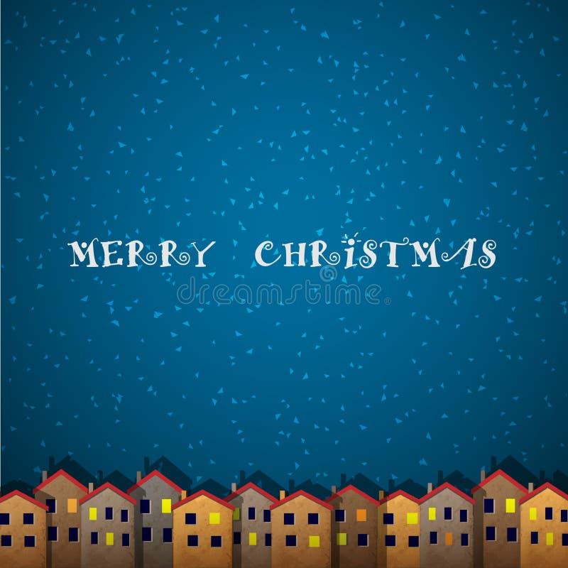 Κάρτα Χριστουγέννων με τα σπίτια διανυσματική απεικόνιση