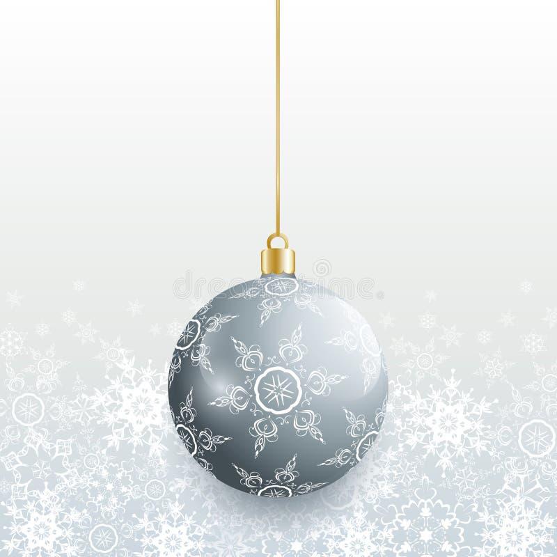 Κάρτα Χριστουγέννων με την γκρίζα σφαίρα Χριστουγέννων ελεύθερη απεικόνιση δικαιώματος