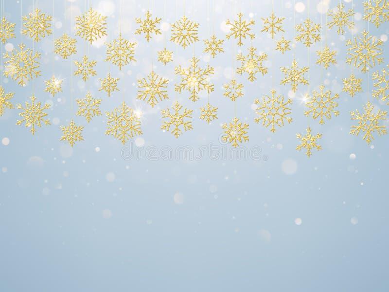 Κάρτα Χριστουγέννων με τη ματαιωμένη χρυσή νιφάδα χιονιού Χρυσή διακόσμηση στο ανοικτό μπλε χειμερινό υπόβαθρο 10 eps απεικόνιση αποθεμάτων