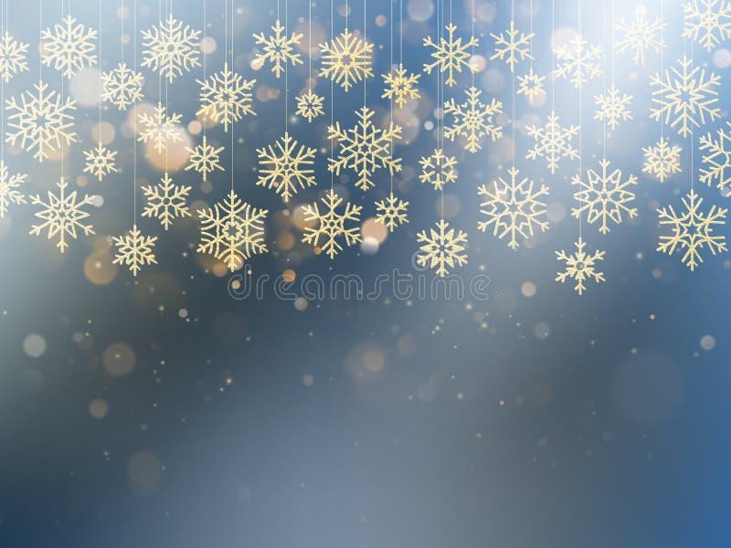 Κάρτα Χριστουγέννων με τη ματαιωμένη χρυσή νιφάδα χιονιού Χρυσή διακόσμηση στο ανοικτό μπλε χειμερινό υπόβαθρο 10 eps διανυσματική απεικόνιση