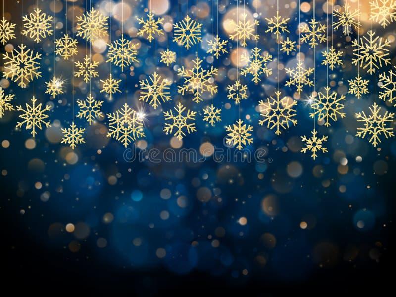 Κάρτα Χριστουγέννων με τη ματαιωμένη χρυσή νιφάδα χιονιού Χρυσή διακόσμηση στο μπλε χειμερινό υπόβαθρο 10 eps απεικόνιση αποθεμάτων