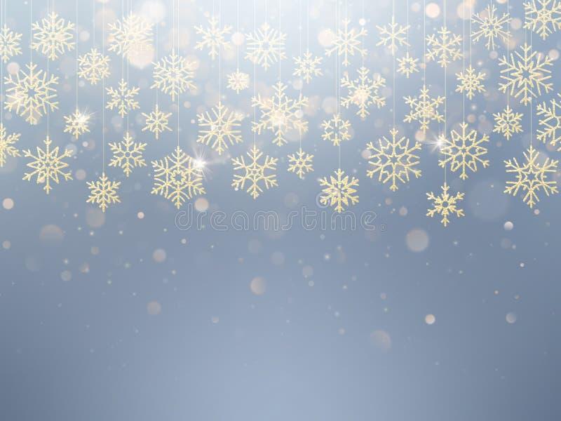 Κάρτα Χριστουγέννων με τη ματαιωμένη χρυσή νιφάδα χιονιού Χρυσή διακόσμηση στο ανοικτό μπλε χειμερινό υπόβαθρο 10 eps ελεύθερη απεικόνιση δικαιώματος
