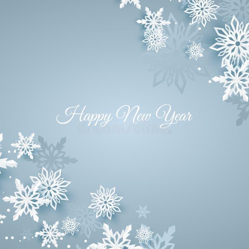 Κάρτα Χριστουγέννων με τη νιφάδα χιονιού εγγράφου Μειωμένα snowflakes σε ένα σκούρο μπλε χειμερινό υπόβαθρο απεικόνιση αποθεμάτων