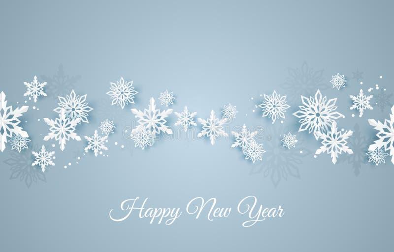 Κάρτα Χριστουγέννων με τη νιφάδα χιονιού εγγράφου Μειωμένα snowflakes σε ένα σκούρο μπλε χειμερινό υπόβαθρο ελεύθερη απεικόνιση δικαιώματος