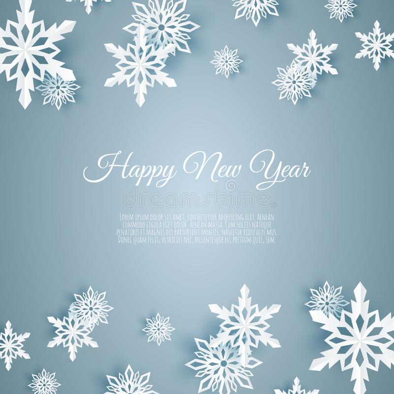 Κάρτα Χριστουγέννων με τη νιφάδα χιονιού εγγράφου μπλε μειωμένα snowflakes ανασκόπησ& διανυσματική απεικόνιση