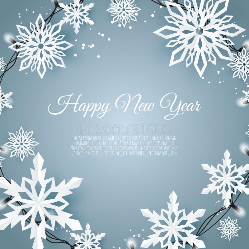 Κάρτα Χριστουγέννων με τη νιφάδα χιονιού εγγράφου μπλε μειωμένα snowflakes ανασκόπησ& απεικόνιση αποθεμάτων