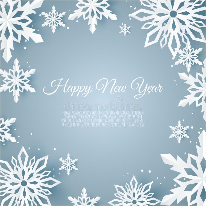 Κάρτα Χριστουγέννων με τη νιφάδα χιονιού εγγράφου  διανυσματική απεικόνιση