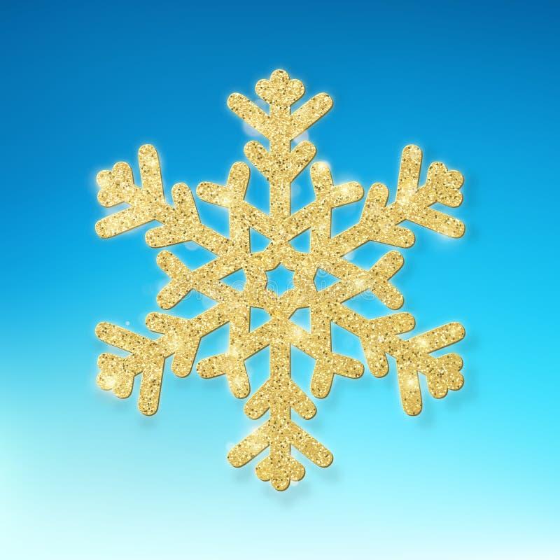 Κάρτα Χριστουγέννων με τη χρυσή νιφάδα χιονιού Χαρούμενα Χριστούγεννα, νέο πρότυπο έτους 10 eps ελεύθερη απεικόνιση δικαιώματος