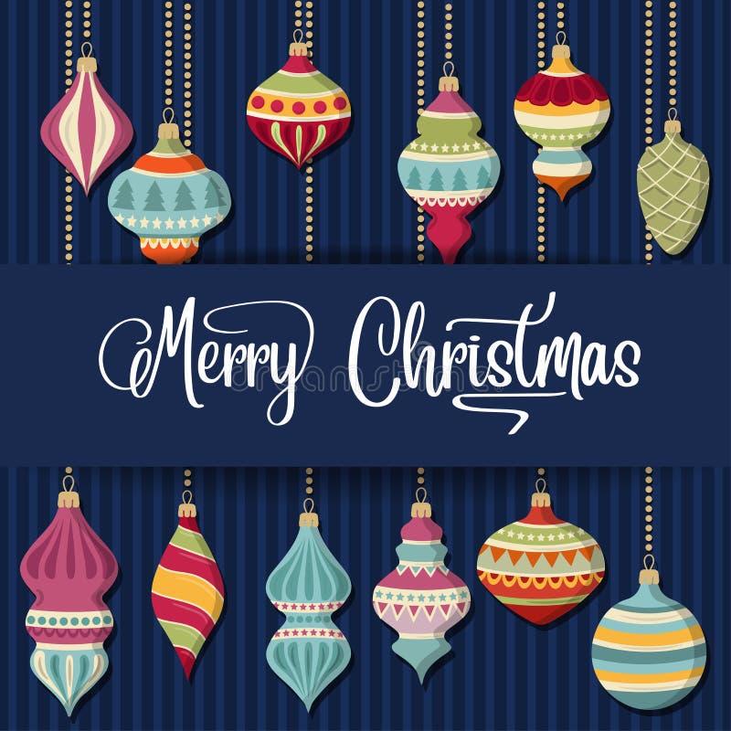 Κάρτα Χριστουγέννων με τις σφαίρες και τις επιθυμίες Christamas ελεύθερη απεικόνιση δικαιώματος