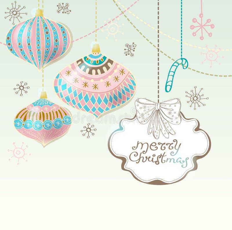 Κάρτα Χριστουγέννων με τις χαριτωμένες διακοσμήσεις χρώματος απεικόνιση αποθεμάτων