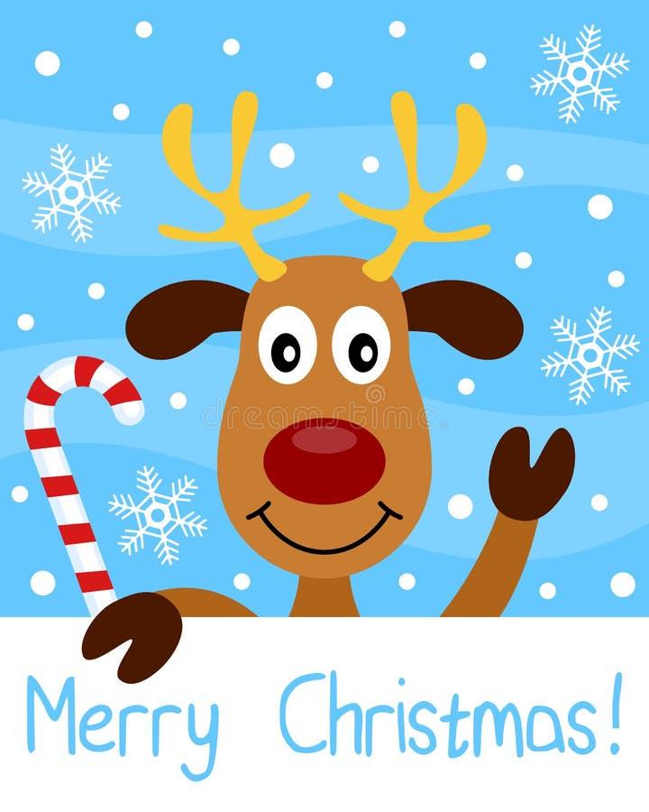 Κάρτα Χριστουγέννων με τον τάρανδο διανυσματική απεικόνιση