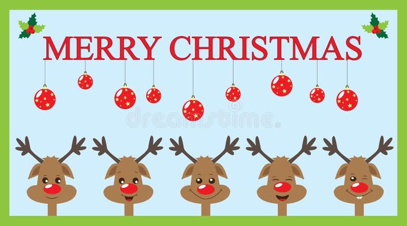 Κάρτα Χριστουγέννων με τους ταράνδους ελεύθερη απεικόνιση δικαιώματος