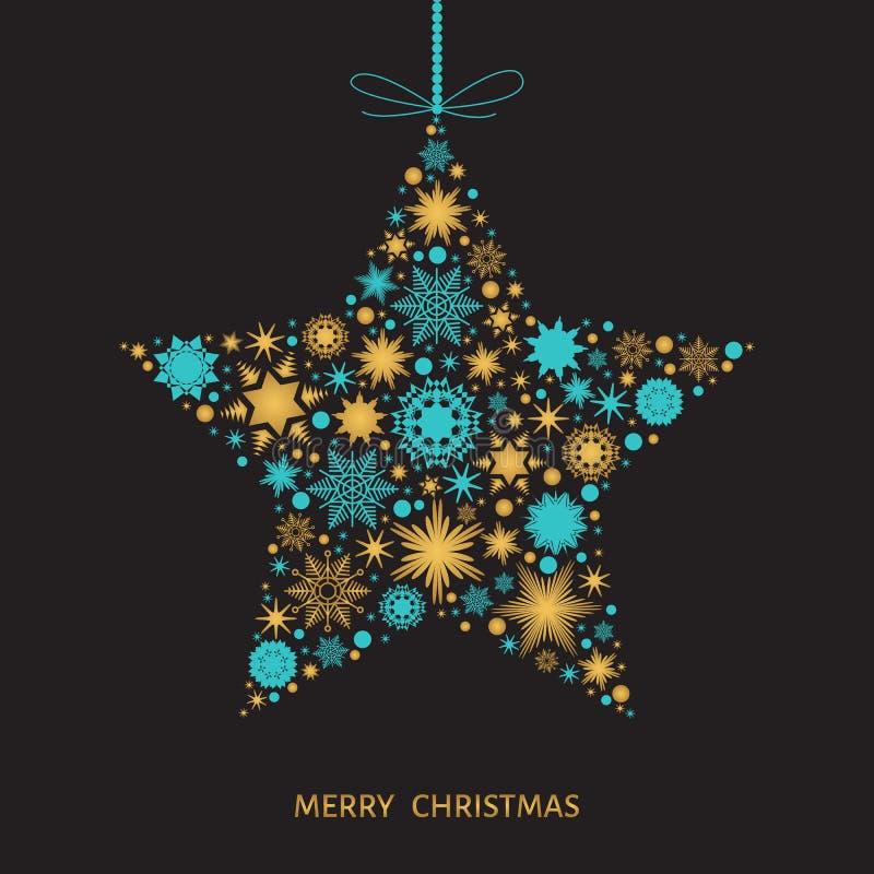 Κάρτα Χριστουγέννων με το αστέρι με χρυσά και μπλε snowflakes διανυσματική απεικόνιση