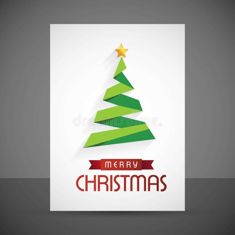 Κάρτα Χριστουγέννων με το δέντρο και το αστέρι ελεύθερη απεικόνιση δικαιώματος