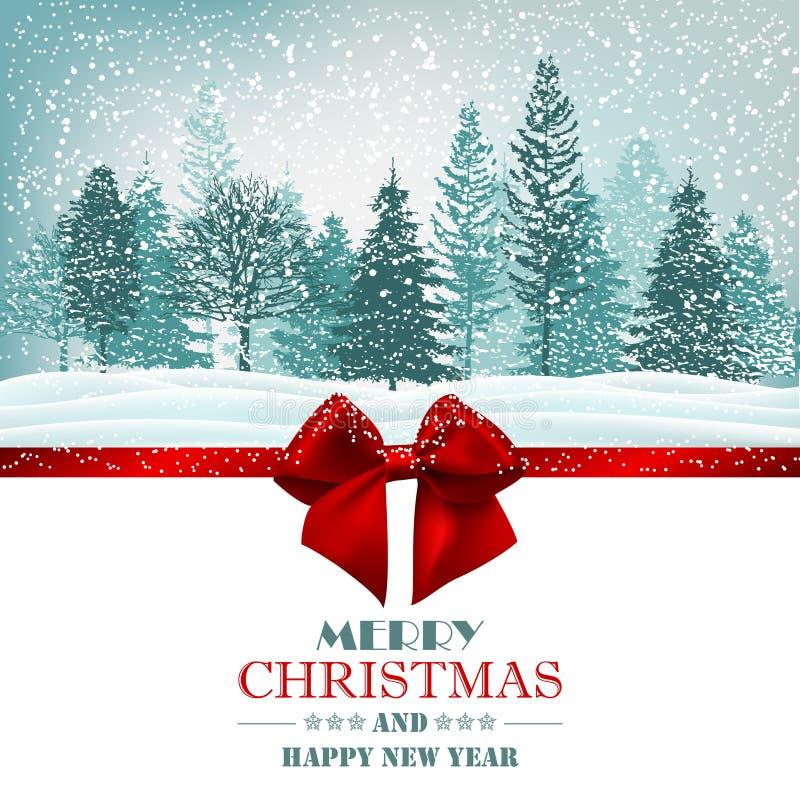 Κάρτα Χριστουγέννων με το κόκκινο τόξο κορδελλών και το δασικό διάνυσμα διανυσματική απεικόνιση