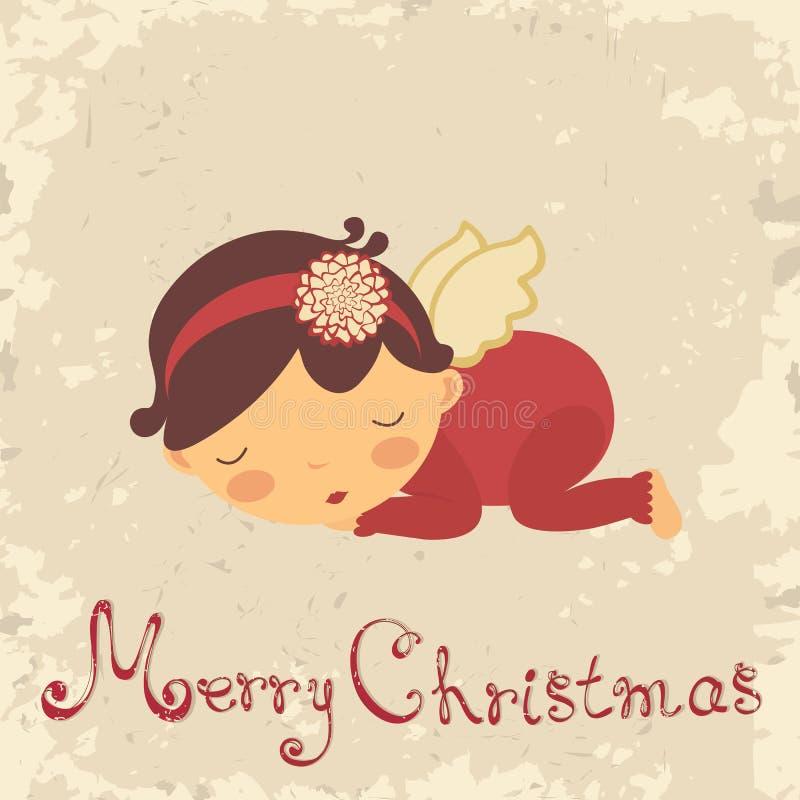 Κάρτα Χριστουγέννων με το νεογέννητο άγγελο ύπνου ελεύθερη απεικόνιση δικαιώματος