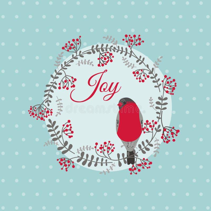 Κάρτα Χριστουγέννων με το πουλί και το στεφάνι απεικόνιση αποθεμάτων