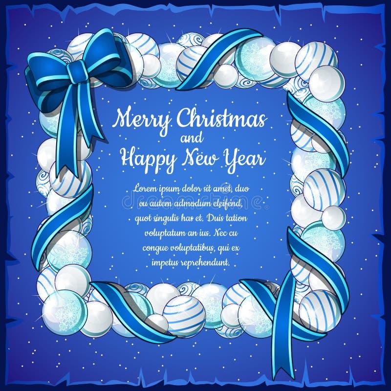 Download Κάρτα Χριστουγέννων με το πλαίσιο των άσπρων και μπλε σφαιρών Διανυσματική απεικόνιση - εικονογραφία από beachwear, δεκέμβριος: 62716447