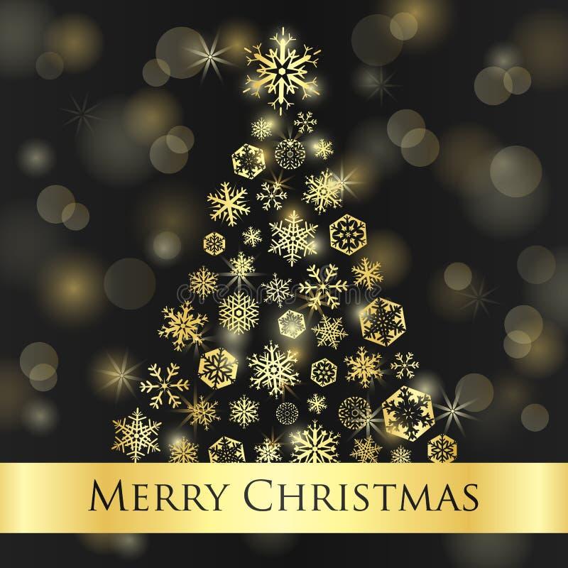 Κάρτα Χριστουγέννων με το σκοτεινό υπόβαθρο και το χρυσό sno ελεύθερη απεικόνιση δικαιώματος