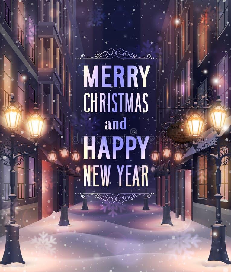 Κάρτα Χριστουγέννων με το υπόβαθρο οδών νύχτας απεικόνιση αποθεμάτων