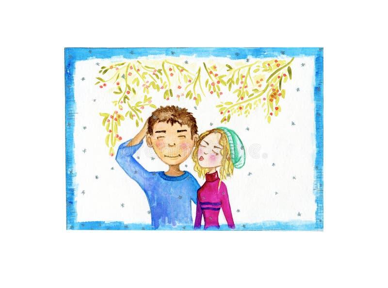 Κάρτα Χριστουγέννων με το χαρακτήρα κινουμένων σχεδίων ζευγών κάτω από το γκι διανυσματική απεικόνιση