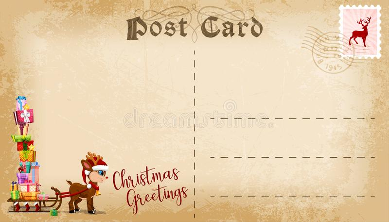 Κάρτα Χριστουγέννων με το χαριτωμένο διάστημα ταράνδων και αντιγράφων κινούμενων σχεδίων για το κείμενο διάνυσμα διανυσματική απεικόνιση