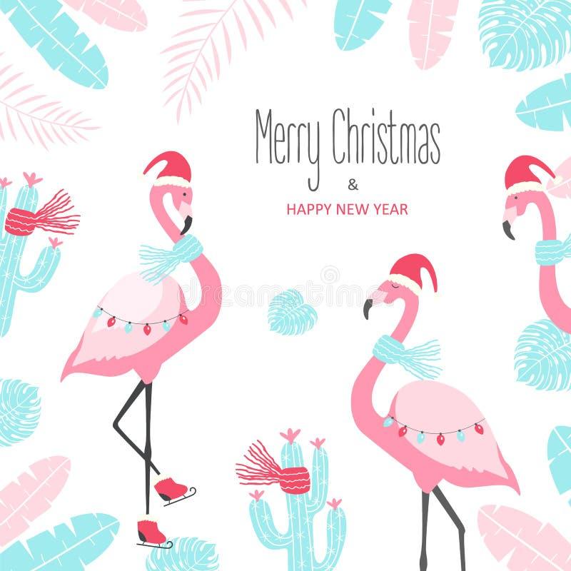 Κάρτα Χριστουγέννων με το χαριτωμένο φλαμίγκο σε ένα άσπρο υπόβαθρο ελεύθερη απεικόνιση δικαιώματος