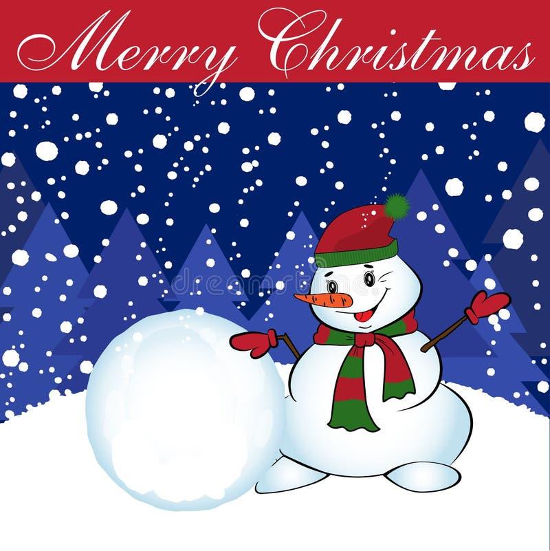 Κάρτα Χριστουγέννων με το χιονάνθρωπο και τη χιονιά διάνυσμα διανυσματική απεικόνιση