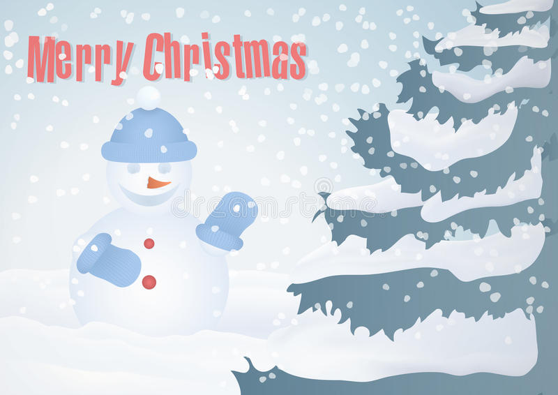 Κάρτα Χριστουγέννων με το χριστουγεννιάτικο δέντρο και το χιονάνθρωπο απεικόνιση αποθεμάτων