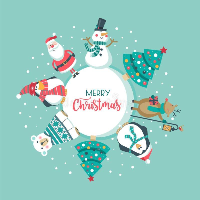 Κάρτα Χριστουγέννων με Santa, δέντρο πολική αρκούδα, χιονάνθρωπος, ελάφια και penguin , απεικόνιση αποθεμάτων