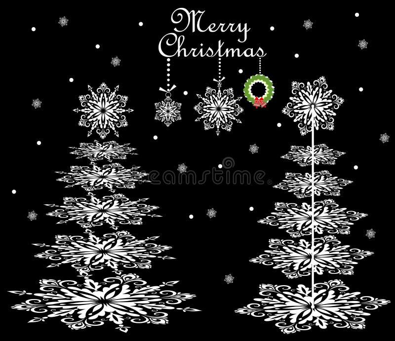 Κάρτα Χριστουγέννων με snowflakes εγγράφου τα κωνοφόρα ελεύθερη απεικόνιση δικαιώματος