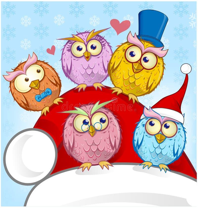 Κάρτα Χριστουγέννων πέντε χαιρετισμού κουκουβάγιες ελεύθερη απεικόνιση δικαιώματος
