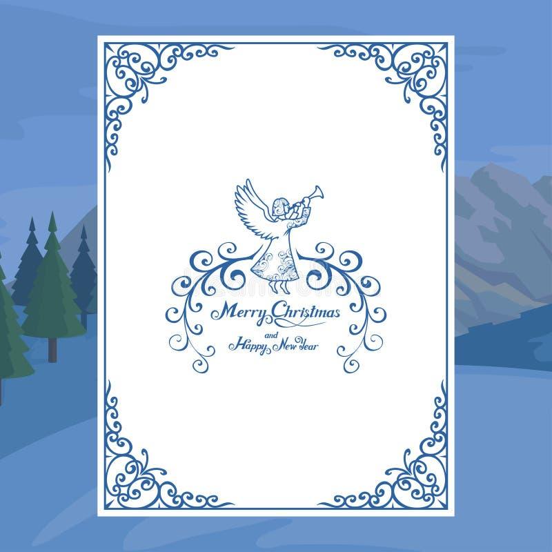 Κάρτα Χριστουγέννων που απομονώνεται στο άσπρο υπόβαθρο Νέες διακοπές έτους χαιρετισμός Χριστουγέννων καρτών Χειμερινός εορτασμός ελεύθερη απεικόνιση δικαιώματος