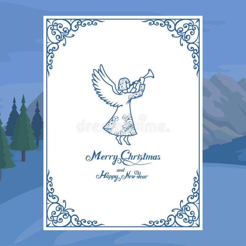 Κάρτα Χριστουγέννων που απομονώνεται στο άσπρο υπόβαθρο Νέες διακοπές έτους χαιρετισμός Χριστουγέννων καρτών Χειμερινός εορτασμός απεικόνιση αποθεμάτων