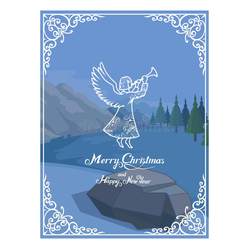 Κάρτα Χριστουγέννων που απομονώνεται στο άσπρο υπόβαθρο Νέες διακοπές έτους χαιρετισμός Χριστουγέννων καρτών Χειμερινός εορτασμός διανυσματική απεικόνιση