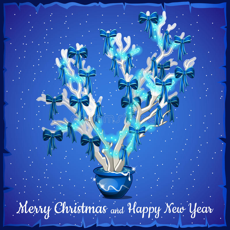Download Κάρτα Χριστουγέννων που διακοσμείται με το ασημένιο δέντρο Διανυσματική απεικόνιση - εικονογραφία από μίνι, μικροσκοπικός: 62717105