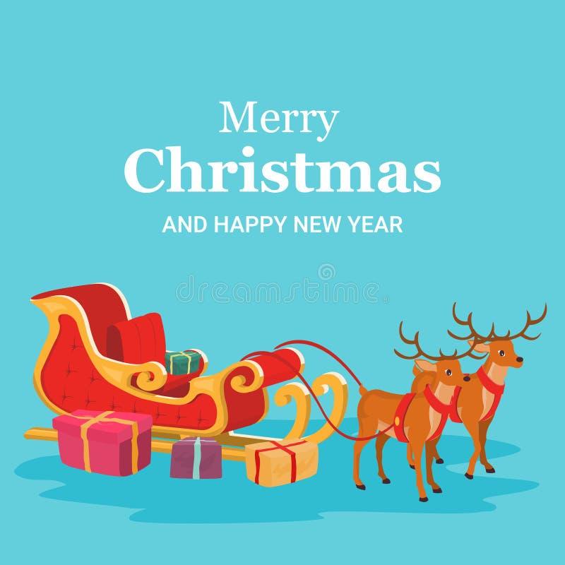 Κάρτα Χριστουγέννων του ελκήθρου και του ταράνδου Άγιου Βασίλη απεικόνιση αποθεμάτων