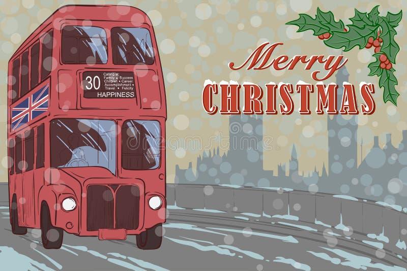 Κάρτα Χριστουγέννων του Λονδίνου με ένα κόκκινο λεωφορείο απεικόνιση αποθεμάτων