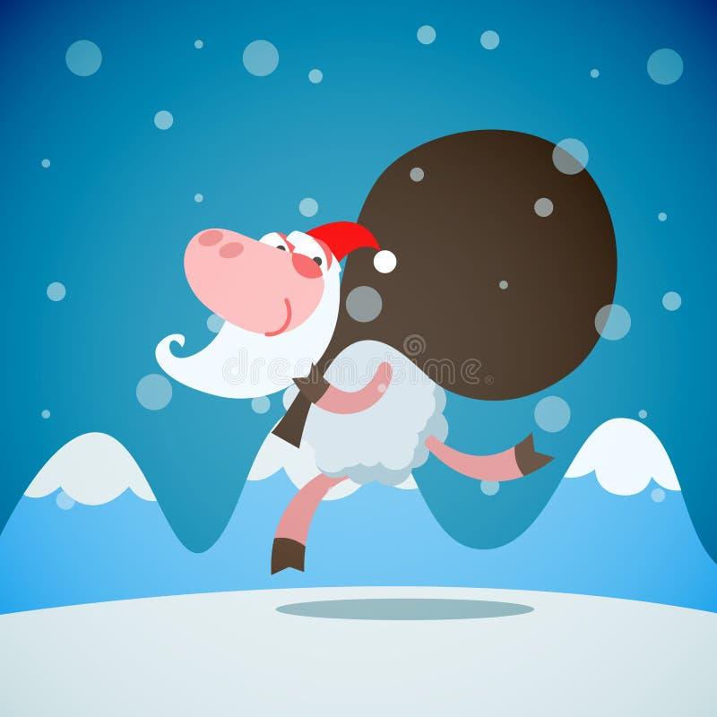 Κάρτα Χριστουγέννων - το πρόβατο τρέχει με το σάκο τα δώρα ως Sant απεικόνιση αποθεμάτων